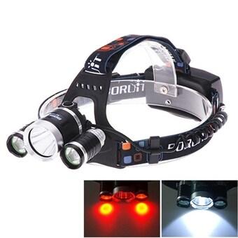 Oppladbar LED Hodelykt - 3xCREE Rødt & Hvitt lys 1000LM
