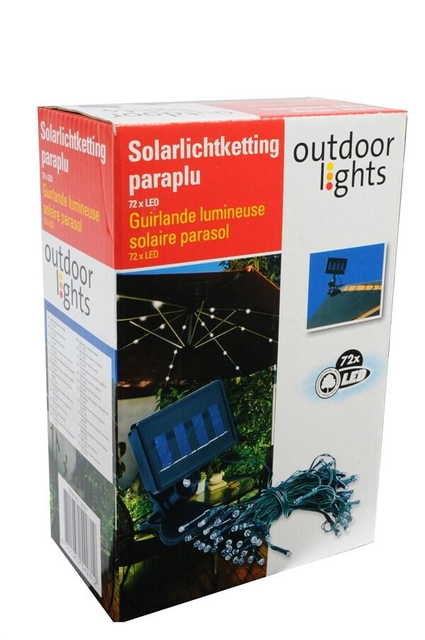 Paraply opplyst av 72 LED-lys solcelledrevne