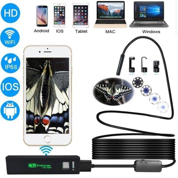Stivt Trådløst Inspeksjonskamera 1200P HD WiFi Endoskop8 LED - 5 Meter