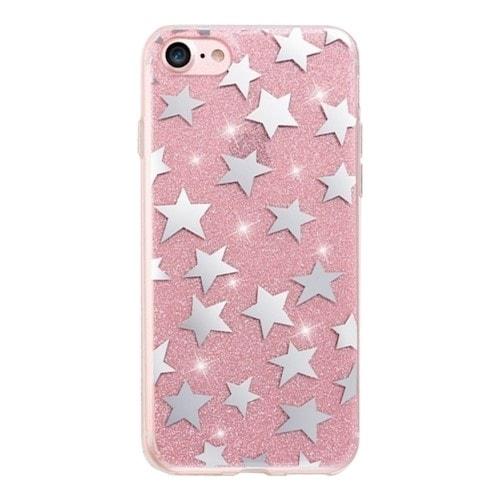 Glitterdeksel stjerner iPhone 6 / iPhone 6s rosa