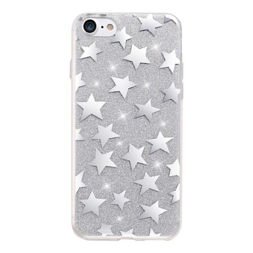 Glitterdeksel stjerner iPhone 6 / iPhone 6s sølv