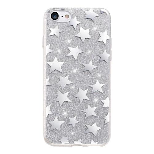 Glitterdeksel stjerner iPhone 6 Plus / iPhone 6s Plus sølv