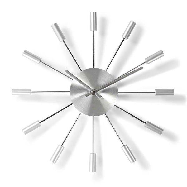 Nedis Rund Veggklokke 34 cm Sølv