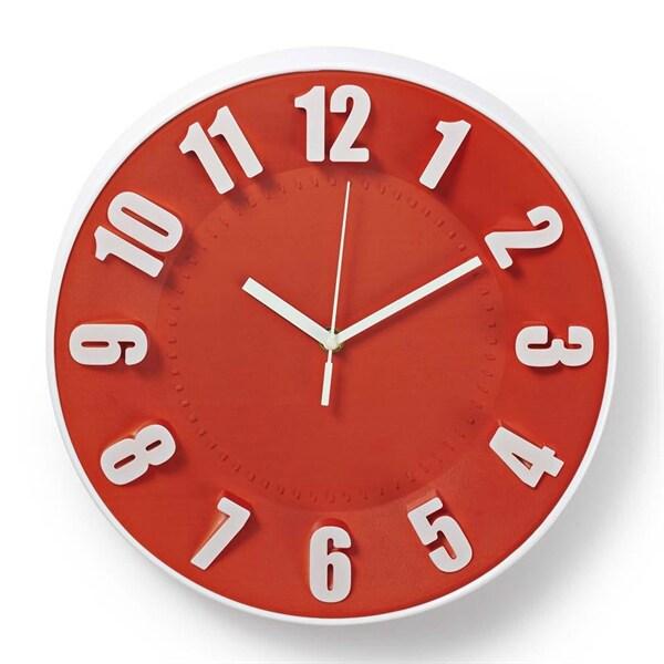 Nedis Rund veggklokke - 30 cm - Rød