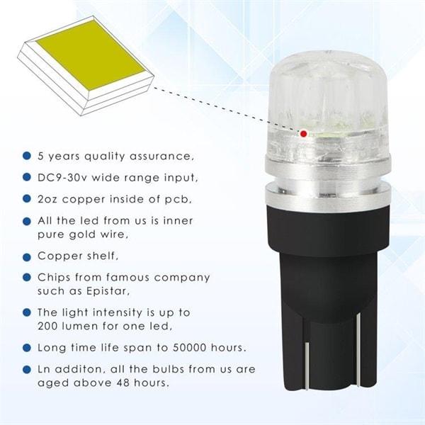 Bilde av 10-pack Lyspærer Led T10 2watt 100lm Canbus Decoder - Ice Blue