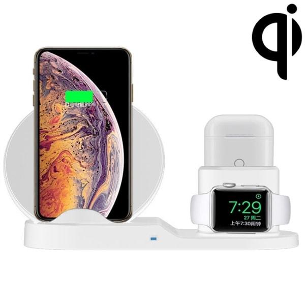 Trådløs Qi Lader mobiltelefon & holder til iWatch & AirPods