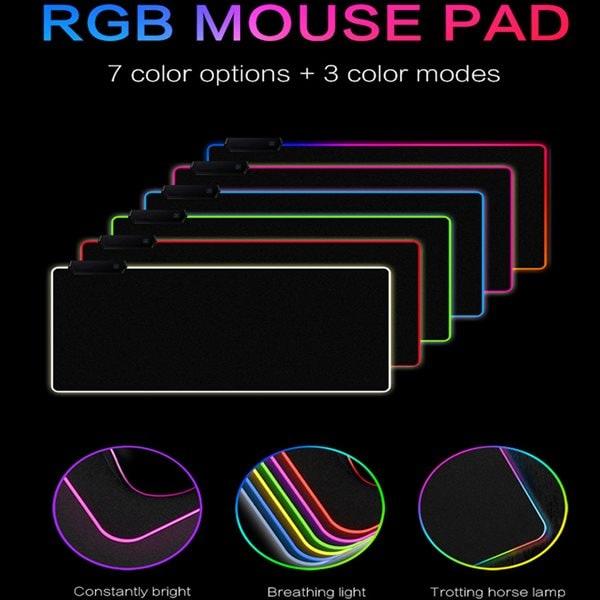 24hshop Musmatte med RGB-belysning 30x78cm