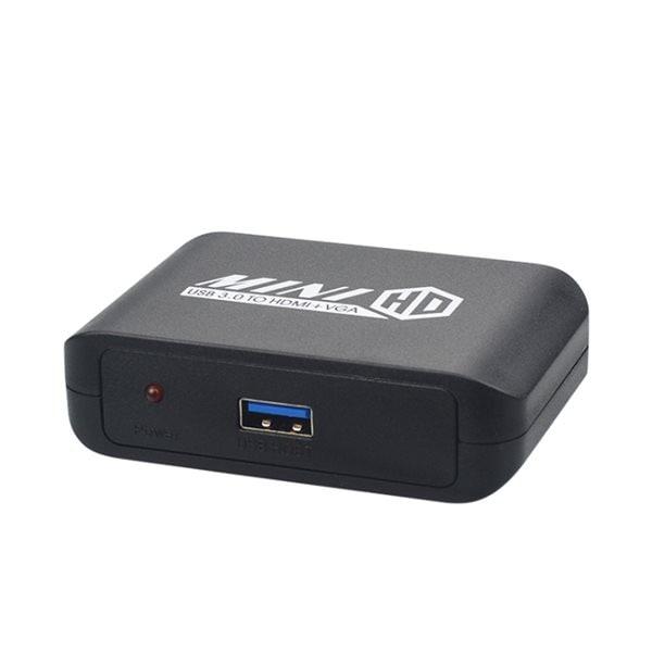 24hshop USB 3.0 til HDMI+VGA Adapter